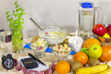 Detox, Fruit salad., Healthy Eating, Morning, Food background, F