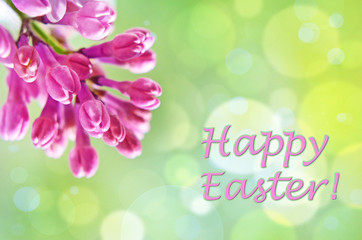 Natural Spring background with lilac and bokeh effect for greetings Happy  Easter.