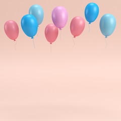 Colorfull balloons on bright background