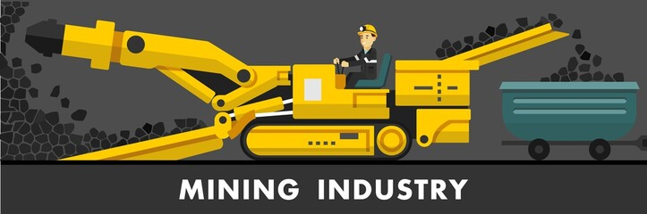 Coal mine concept in flat style. Coal mining process with miner and equipment
