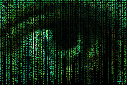 Digital eye. Green matrix background. Concept of Artificial Intelligence