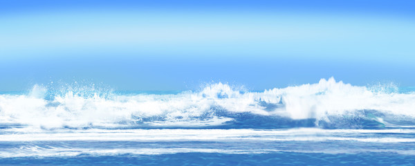 海岸 打ち寄せる波 波打ち際
