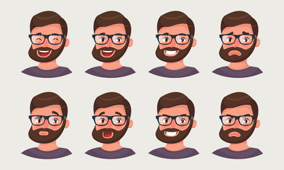 Cute hipster businessman showing different emotions. A bearded man office worker emoji. Vector illustration in cartoon style