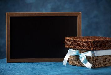 gift box and blackboard