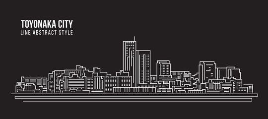 Cityscape Building Line art Vector Illustration design - Toyonaka city