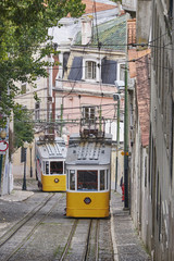 Portugal, Lisbon, Bairro Alto, Elevador da Gloria, yellow cable railways