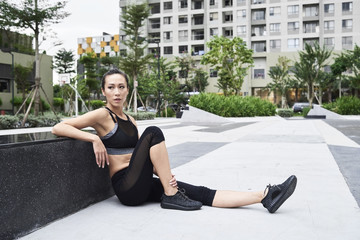 Woman relaxing after exercising