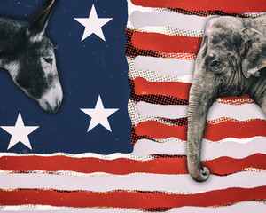 Political animals, a donkey representing democrats and an elephant representing republicans, against an modern art American flag.