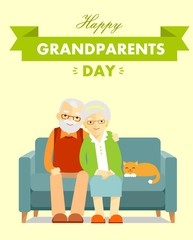 Happy grandparents day poster. Greeting card with grandmother and grandfather elderly couple