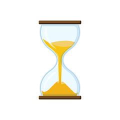 Retro hourglass with clear glass and half sprinkled with sand. Antique tool for measuring time. Hourglass for business concept deadline.