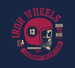 Motor skull. Vintage design biker.