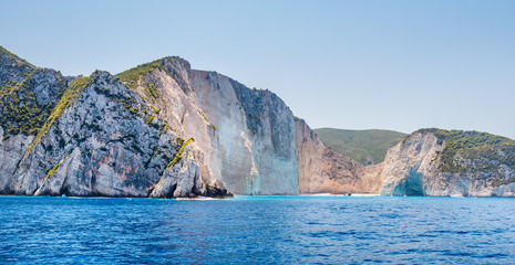 Most Incredible Navagio Beach or Shipwreck Beach from the boat. Zakynthos, Greece