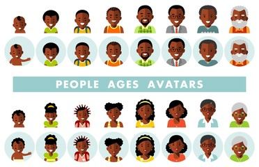 Set of african american ethnic people generations avatars at different ages. Man and woman african american ethnic aging icons - baby, child, teenager, young, adult, old.