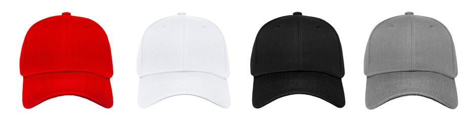 Blank baseball cap 4 color set on white background Wall mural