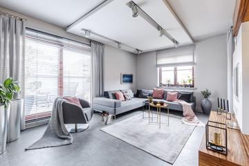 Bright gray living movie room
