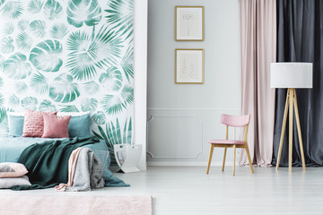 Pink and green bedroom interior