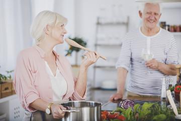 Grandparents cooking dinner