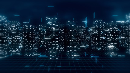 Abstract 3d city render with financial numbers around. Dark blue theme.