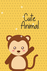 cute animal monkey cartoon bright background vector illustration