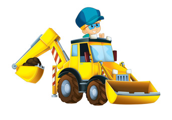 Recess Fitting Cars Cartoon funny and happy scene with kid playing worker in the toy excavator - on white background - illustration for children