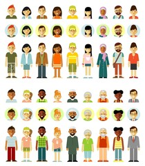 People characters standing together set. Different ethnic smiling multicultural persons icons. Full length and avatars. Vector illustration in flat style isolated on white background