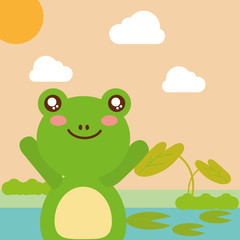 cute animal frog pond leaves natural cartoon vector illustration