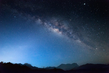 Nightscape scenery with starry and milky way