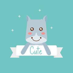 cute animal hippo ribbon shiny background vector illustration