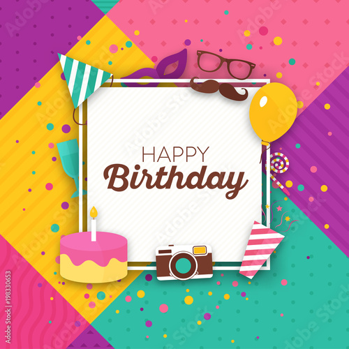 Colorful Typographic Birthday Card Happy Birthday Greeting Design