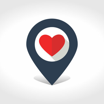 Map pointer with heart inside.