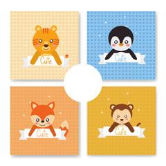 cute animal set tiger fox penguin monkey babies cartoon vector illustration