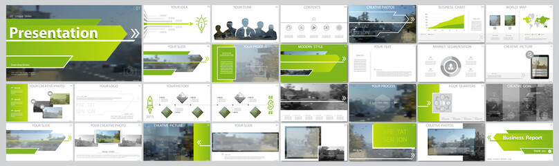 Original presentation templates. Set of green, elements of infographics, white background. Flier, postcard, corporate report, marketing, advertising, banner. Slide show, slide for brochure, booklet