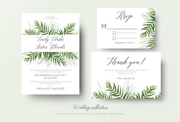 Wedding invitation, rsvp, thank you cards floral design with green tropical forest palm leaves, eucalyptus branches & cute greenery herbal mix decoration. Beautiful botanical woodsy style template set