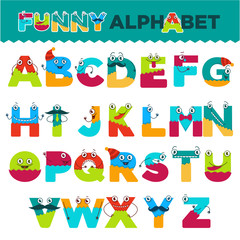 Funny alphabet of cartoon characters vector font letters of comic monster creature faces for kid design