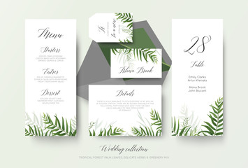 Wedding menu, label, place card, details, table number cards floral design with green tropical forest palm leaves, eucalyptus branches, greenery herbal decoration. Beautiful botanical woodsy style set
