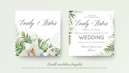 Wedding double invitation, invite card design with elegant white orchid flower, greenery willow eucalyptus branches, tropical forest palm green leaves decoration. Beautiful, trendy vector template set