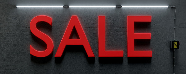 a underground wall with neon lights and word sale