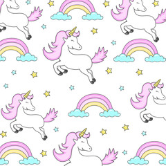 Vector pattern with cute unicorns. greeting card, Vector seamless pattern with cute cartoon unicorns. Wrapping paper or fabric.