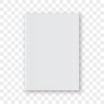 Book cover blank white vertical design template. Vector empty book cover model mockup isolated on transparent background