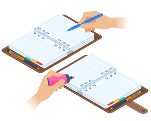 Flat isometric illustration of opened personal planners, hands with pen and highlighter. Office, school vector concept: agenda, writing and highlighting hand. Business, education stationery, supplies.
