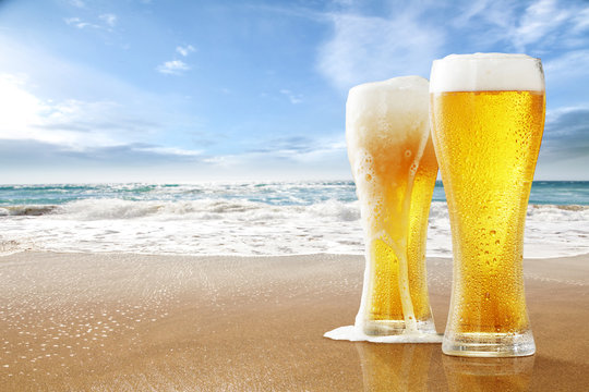 summer beer and free space for your decoration.