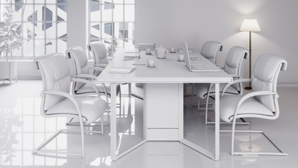 Office interior, chairs and wood table. Meeting room 3d illustration