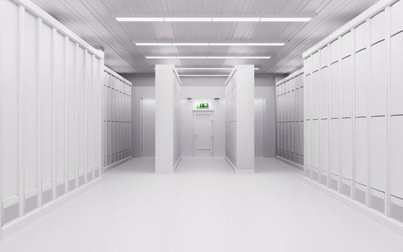 White server room with server racks 3d illustration