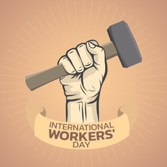 International Workers Day  logo icon design, vector illustration