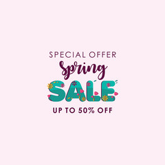 Spring sale Special Offer up to 50% off Vector Template Design
