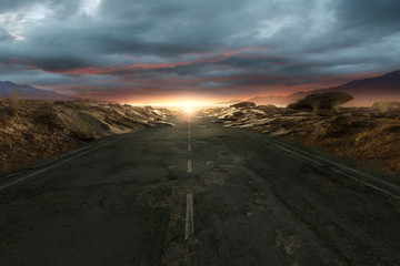 Photo sur Plexiglas Secheresse Einsame Straße durch die Wüste