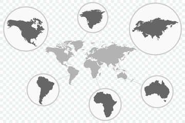 World map Vector icon with parts of the earth