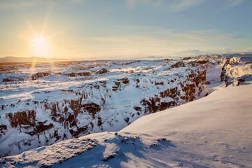 Thingvellir National Park in the snow.