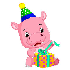 hippo birthday get a gift