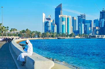 Relax in Corniche promenade, Doha, Qatar